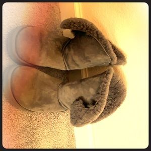 Gray UGG's with bling on the back.